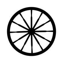 Vector Silhouette Of An Old Vintage Wagon Wheel