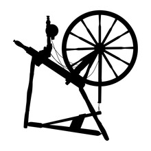 Vector Silhouette Old Vintage Spinning Wheel On A White Isolated Background