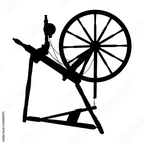Canvas Print vector silhouette old vintage spinning wheel on a white isolated background