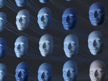 Array Of Human Faces Masks