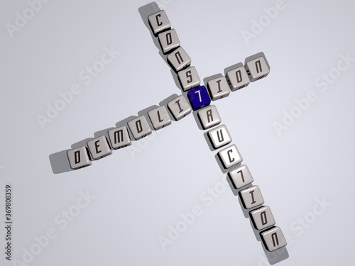crosswords of demolition construction arranged by cubic letters on a mirror floor, concept meaning and presentation Canvas Print