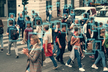 Face Detection And Recognition Of Citizens People, AI Collect And Analyze Human Data. Artificial Intelligence AI Concept As Technology For Safe City In Future.