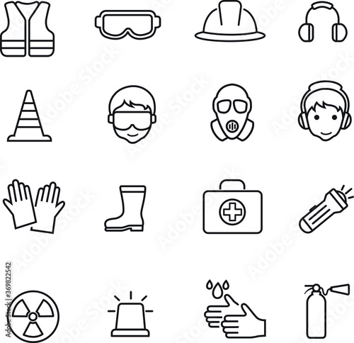 Foto safety and health outline icons