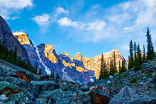 Morning Sun Lights Up The Valley Of Ten Peaks In Banff National Park At The Rockpile Of Babel Tower