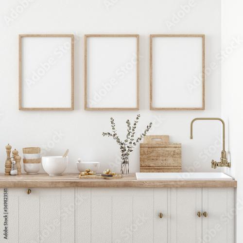 Obraz Mock up poster frame in kitchen interior, Farmhouse style, 3d render - fototapety do salonu