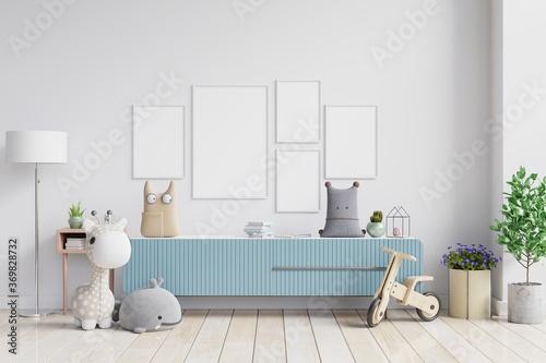 Obraz Mock up poster with vintage pastel hipster minimalist on cabinet. - fototapety do salonu