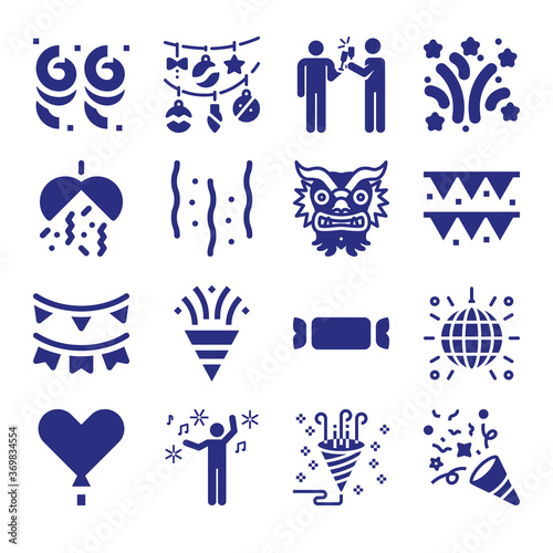 Set of 16 yeats filled icons фототапет