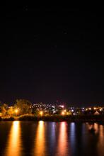 Night Panorama Of Lake Velence And Illuminated Bence Hill View, Stars Lake And Hill At Night In Velence, Hungary, Éjszakai Panoráma A Velencei-tóval és A Kivilágított Bence Hegyi Kilátóval