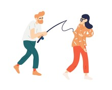 Funny Man Catching Woman To Fishing Rod Vector Flat Illustration. Guy Trying To Catch Victim On Hook Isolated On White. Searching For Couple. Pick Up Partner, Love, Relationship, Girlfriend Or Wife