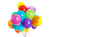 Bunch Of Colorful Balloons On White Background. Banner Design