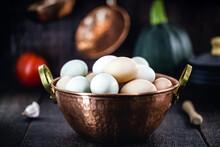 Brazilian Free-range Eggs, Natural Free-range Eggs From Minas Gerais, In Copper Pots. Typical Brazilian Cuisine.