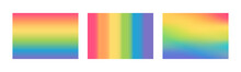 Lgbtq Pride Month Flag Concept. Vector Flat Illustration Set. Lgbt Rainbow Waving Flag Symbol. Gradient Mesh Rainbow Background Collection. Design Element For Freedom And Diversity Banner, Poster.
