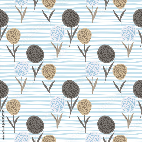 Tapeta beżowa  floral-dandelion-silhouettes-seamless-pattern-beigeand-brown-flower-shapes-on-white-background-with-blue-strips