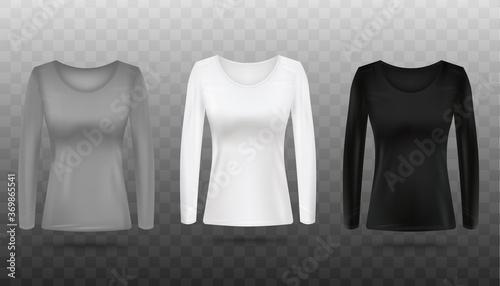 Grey, white and black women's long sleeve shirt mockup set Tapéta, Fotótapéta