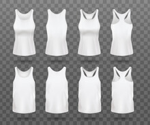 Realistic White Women's Tank Top Mockup Set From Front And Back View