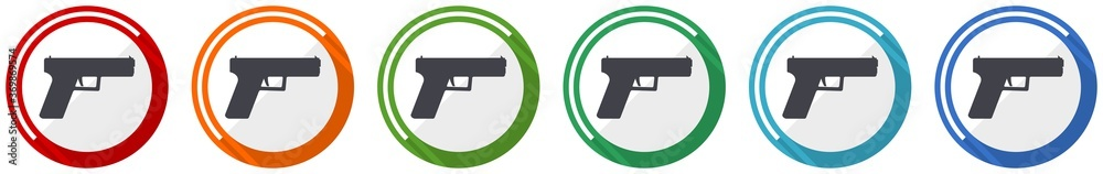 Fototapeta Pistol, gun, weapon icon set, flat design vector illustration in 6 colors options for webdesign and mobile applications