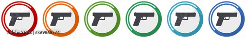 Fotomural Pistol, gun, weapon icon set, flat design vector illustration in 6 colors option
