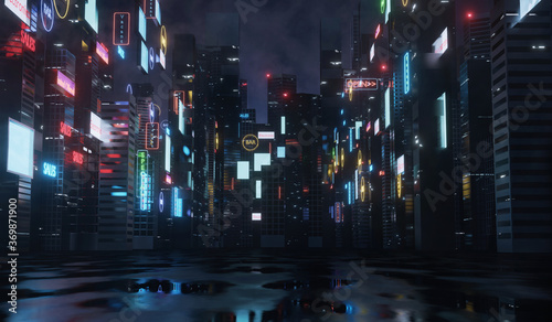 Obraz 3D Rendering of billboards and advertisement signs at modern buildings in capital city with light reflection from puddles on street. Concept for night life, never sleep business district center (CBD) - fototapety do salonu