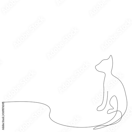 Fotografie, Tablou Cat silhouette. Continuous line drawing. Vector illustration