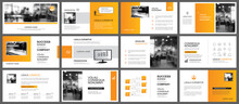 Presentation And Slide Layout Autumn Theme Template. Design Orange Gradient Background. Use For Business Annual Report, Flyer, Marketing, Leaflet, Advertising, Brochure, Modern Style.