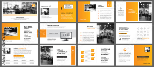 Fototapeta Presentation and slide layout autumn theme template. Design orange gradient background. Use for business annual report, flyer, marketing, leaflet, advertising, brochure, modern style. obraz na płótnie