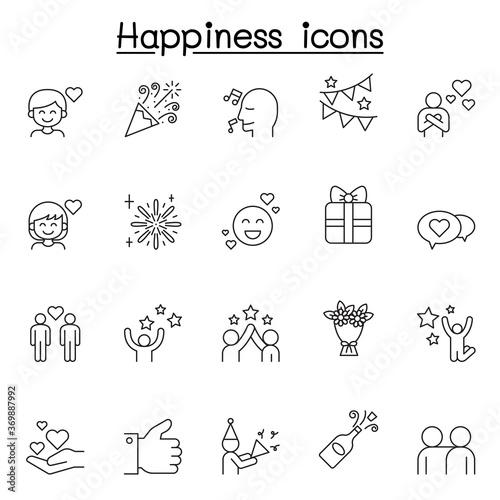 Cuadros en Lienzo Set of Happy Related Vector Line Icons