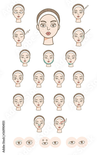 Fotografija 美容整形皮膚科診療項目アイコン風イラストセット