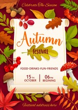 Autumn Festival Vector Flyer With Colorful Tree Leaves And Mushrooms. Invitation Template For Fall Season Celebration Party With Food And Drinks. Cartoon Design With Fly Agaric, Cep, Rowan, Oak, Acorn