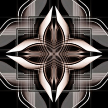 Pattern, Ornament, Decor, Graphic Abstraction Similar To A Flower Or Star, Symmetrical Square, Geometric Background, Architecture Cover In The Dark Style With Arches, In Brown Black And Beige Colors.
