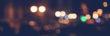 Night City Lights, Blurred Image With Bokeh And Highlights, Panorama Banner Format