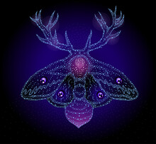 Detailed Dots Butterfly Moth With Mythic Elements And Antlers