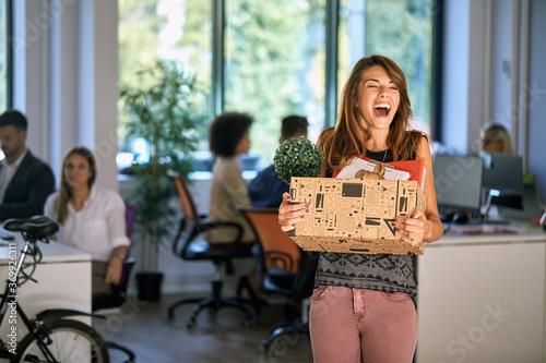 Fototapeta New female colleague coming into office obraz
