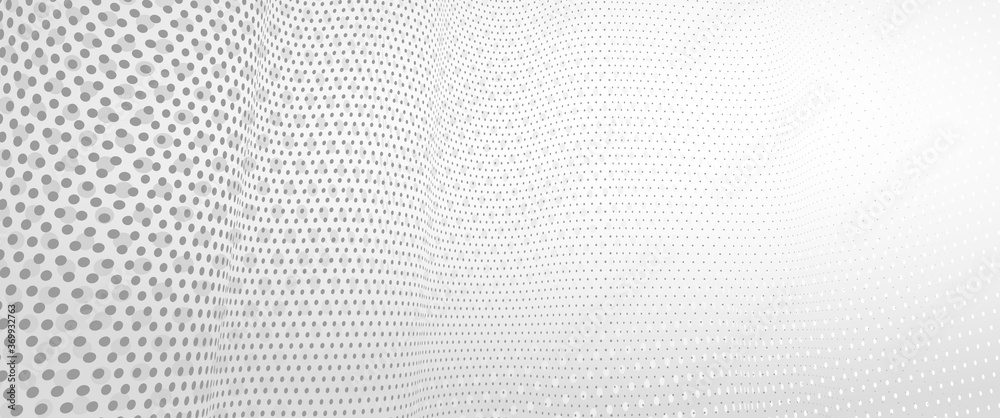 Fototapeta 3D abstract monochrome background with dots pattern vector design, technology theme, dimensional dotted flow in perspective, big data, nanotechnology.