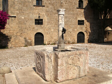 The Old Town Of Rhodes, The Fountain In Argyrokastrou Square, Rhodes, Greece