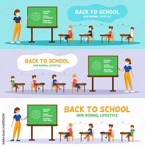 Back to school in New normal Fototapet