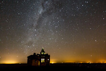 A Night View Scene Of An Abandoned Old Church In Palmital - SP - Brazil