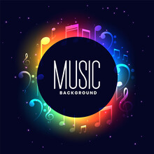 Colorful Musical Festival Background With Music Notes Design