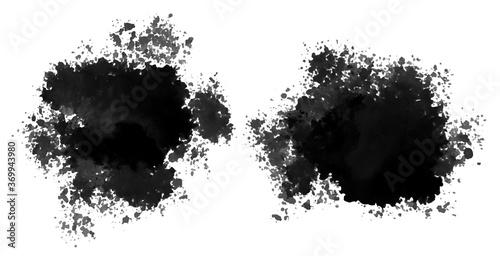 Cuadros en Lienzo set of black watercolor splatter stain texture
