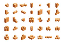 Wooden Cubes Isometric For Chi...
