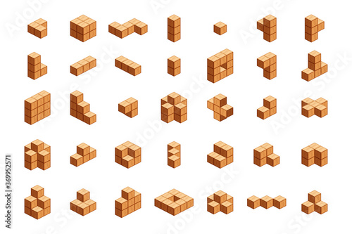 Fototapeta wooden cubes isometric for children learning, wood cubes sample with different isolated on white, 3d cubes wood for logic counting of preschool children, block wooden square for mathematical game kids obraz