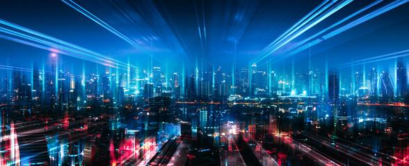 Smart Network and Connection city of Bangkok Thailand at night