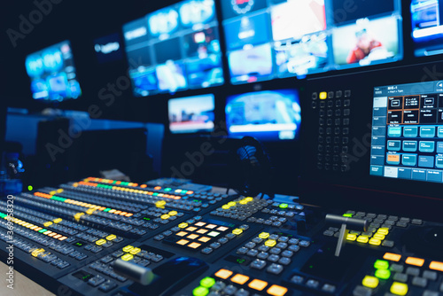 Foto video switch of Television Broadcast, working with video and audio mixer, control broadcasts in recording studio