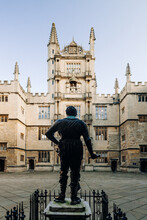 Wider View At The Back Of The Statue At Bodleian Library At Oxford University, United Kingdom
