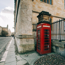 Red Phone Booth In Oxford, England.