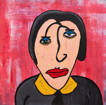 Square Painting Of A Dull And Serious Woman