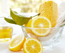 Natural Homemade Cleaning Products With Fresh Lemon