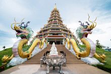 Golden Dragons And Beautiful Temple