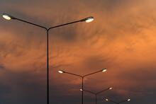 Golden Sky In Evening Haze