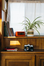 Lovely Corner With A Window, Plants, Notebooks, Maps, Alarm Clock And A Camera In A Sunny Motor Home