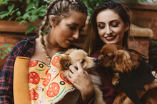 Two Female Friends In Their Twenties Playing With Their Dogs Outside In Autumn